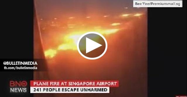 [VIDEO] NGERI!!  Pesawat Singapore Airlines (SIA) Terbakar Dalam Penerbangan ke Changi