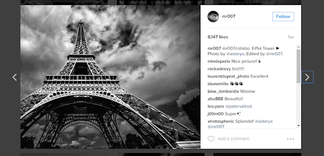 An Instagrammer who does black and white images very well is @mr007.