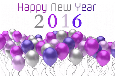 Happy New Year 2016 Flying Colorful Balloons Wallpaper