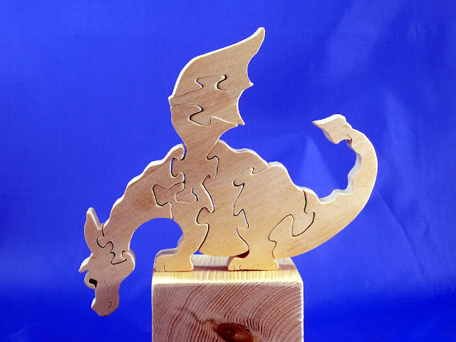 Left Side - Wooden Toy Puzzle - Dragon - Poplar - Unfinished - 7.5x6 Inches