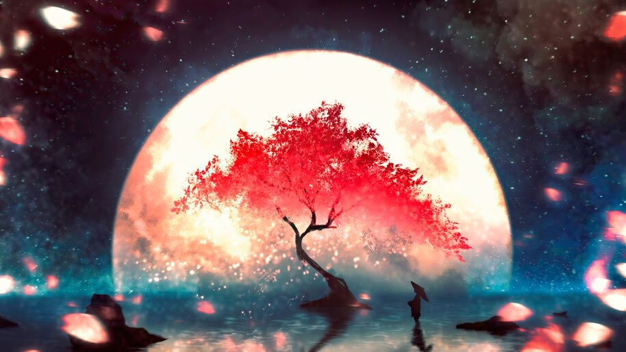 Anime, Night, Scenery, Full Moon, Cherry Blossom, 4K, #4.3112