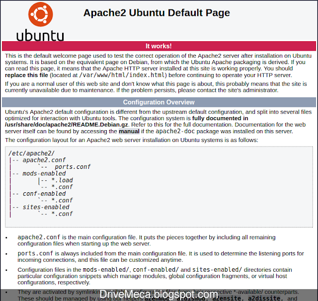 DriveMeca instalando LAMP en Linux Ubuntu LTS