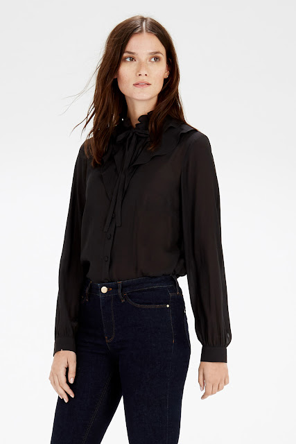 warehouse black ruffle neck blouse,