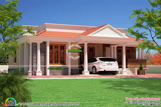 3 bed room home Kerala Traditional Design