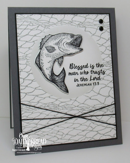 ODBD Great Catch Stamp/die Duos, ODBD Fishing Net Background, ODBD Custom Circles Dies, ODBD Custom Double Stitched Rectangles Dies, Card Designed by Angie Crockett