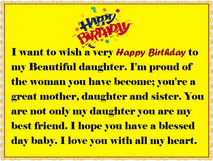 Mother To Daughter Birthday Wishes