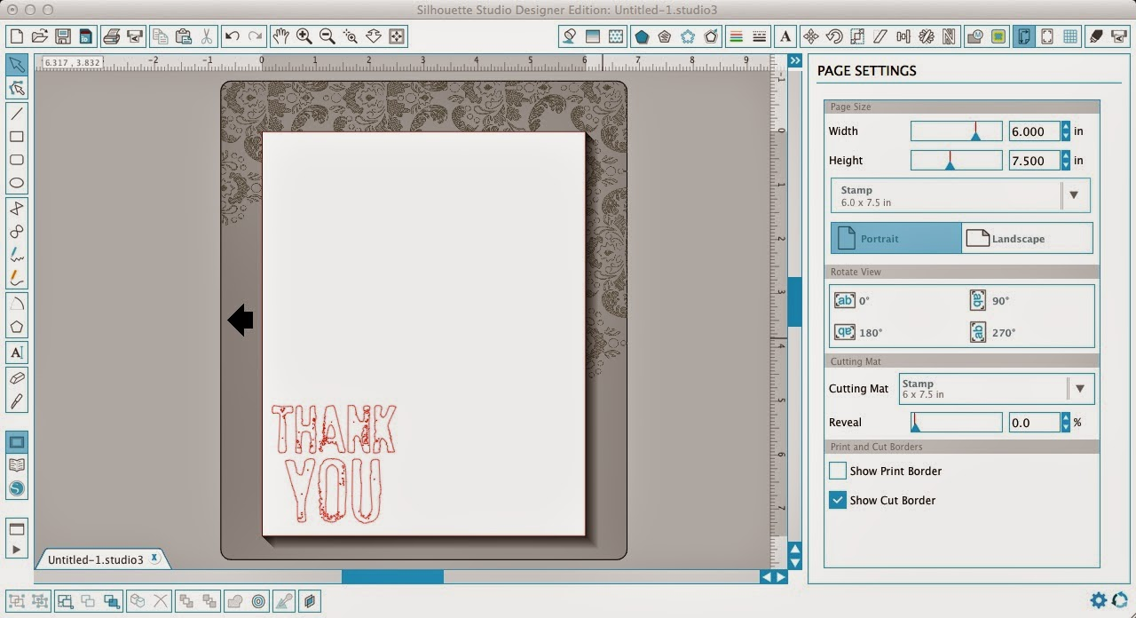 Silhouette, stamp, tutorial, beginners, Silhouette Studio, page settings