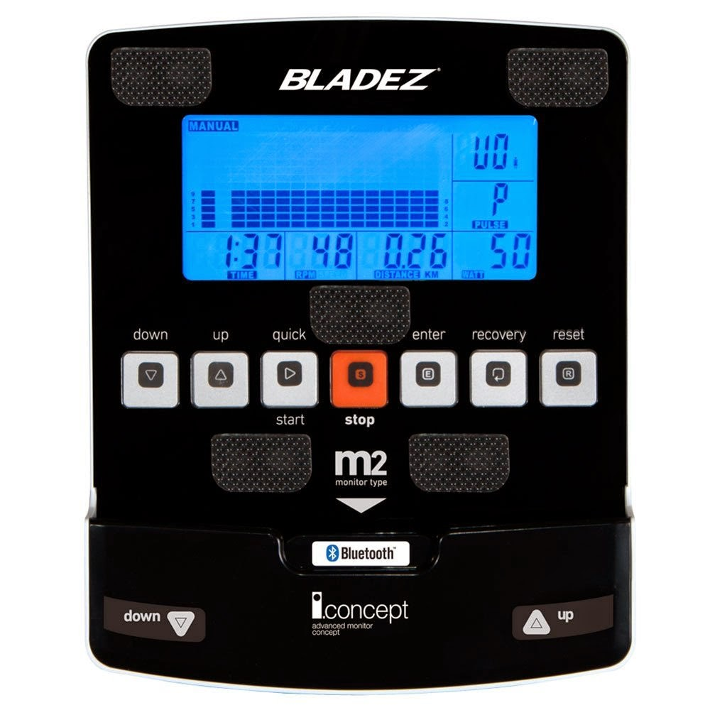 Bladez E700i console with iConcept, with blue backlit LCD display, iConcept technology, bluetooth, tablet holder