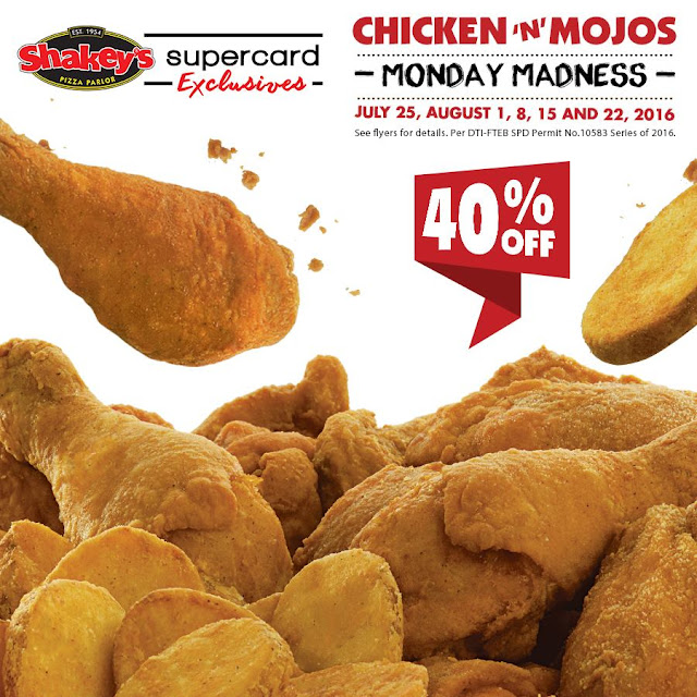 Enjoy 40% off on Chicken N Mojos from Shakey's Monday Madness