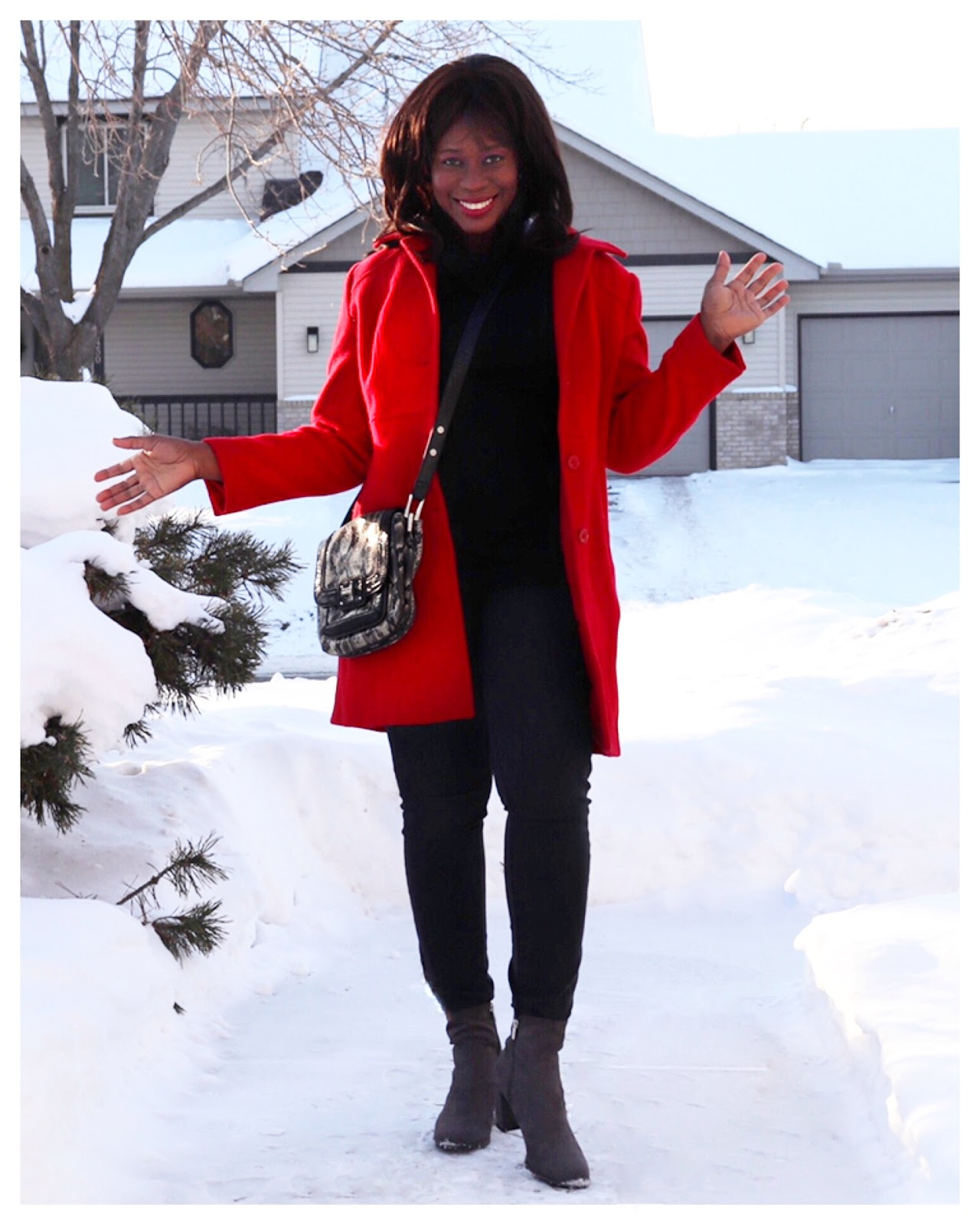 Beauty's Fashion Zone: Red Wool Coat + All Black Outfit