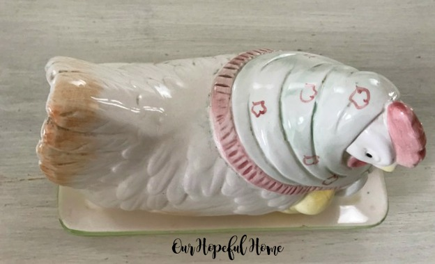 Vintage Otagiri porcelain momma hen baby chick butter dish farmhouse kitchenware