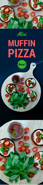 Quick but delicious mini pizzas made on an English muffin base with simple margherita toppings and a kick from jalapenos. The jalapenos come from the new Baxters Deli Toppers range and the recipe is vegetarian and vegan. #GetTopping