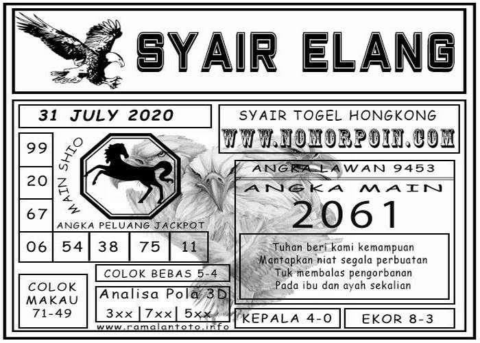 Kode syair Hongkong Jumat 31 Juli 2020 274