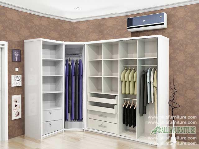 lemari pakaian minimalis model sudut hugo