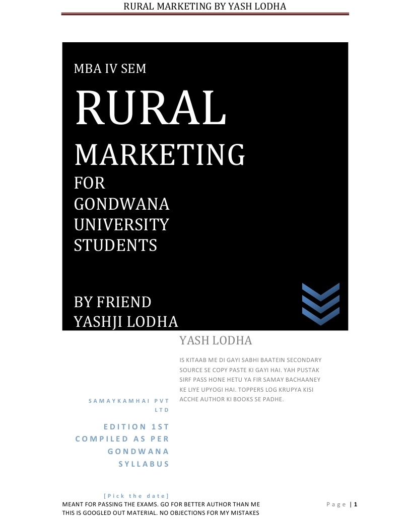 Mba notes for rural marketing