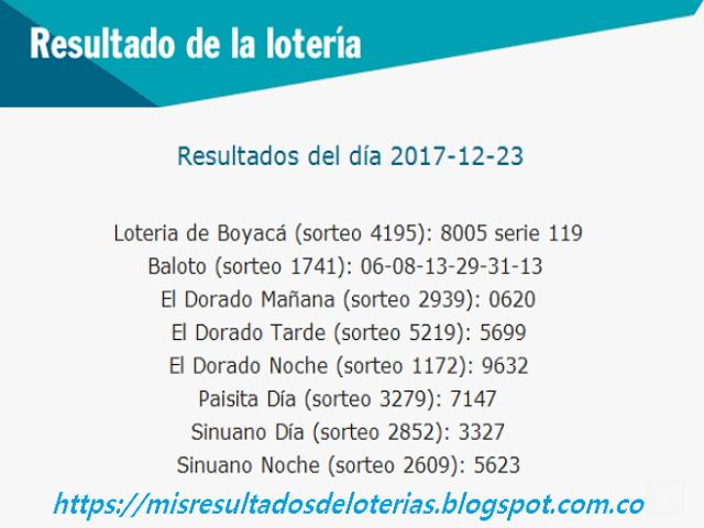 Como jugo la lotería anoche | Resultados diarios de la lotería y el chance | resultados del dia 23-12-2017