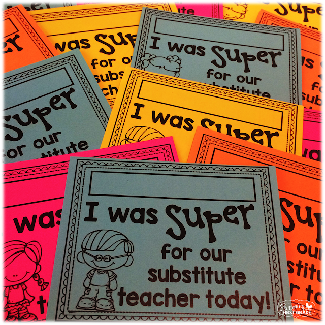Super Sub Slips. Great for substitute teacher days!