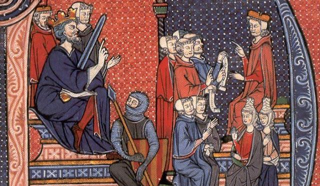 Il re Giacomo I e un soldato con lo stemma catalano