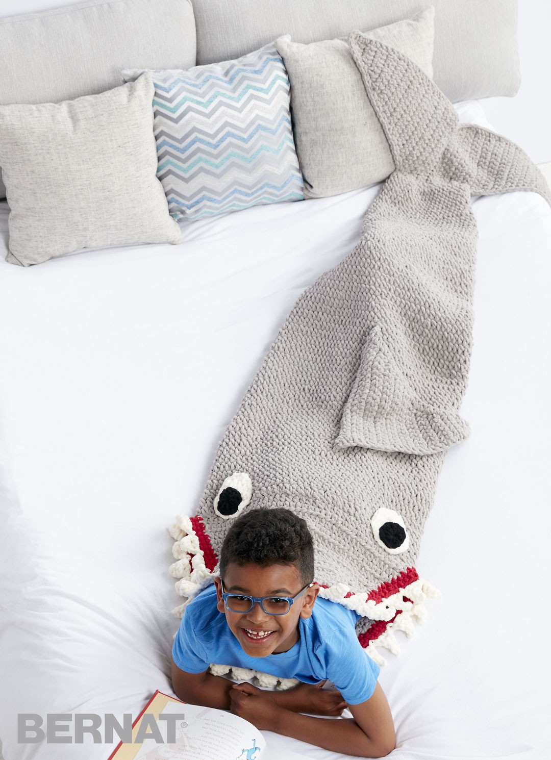 Free Pattern Crochet Shark Blanket : ergahandmade: Crochet Shark Blanket Sack + Free Pattern ...