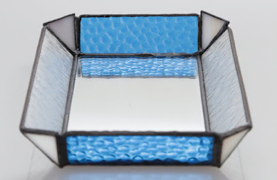 small glass tray, blue and clear