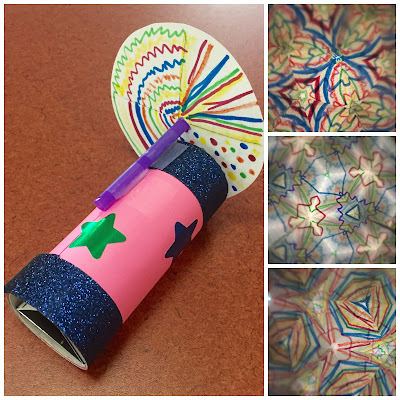 DIY kaleidoscopes for kids, mirrors, reflections, STEM< STEAM programs