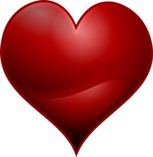 Imagen de un corazón muy rojo