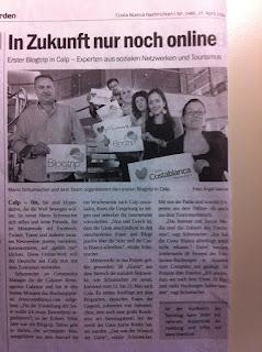 Deutsche Zeitung in Spanien CBN erwähnt #blogtripcostablanca 2012 in Calpe, Mario Schumacher Blog