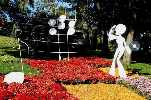 Фрагмент инсталляции из хризантем