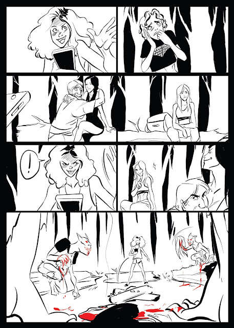 A comic depicting a group of people in the woods around a campfire with someone telling a scary story, then two of the characters turn into demons
