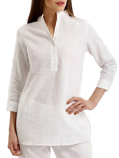 White Linen Regular Kurti: