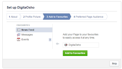 Facebook page set up - Add to favourites