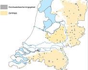 Figuur 2-1: Grondwaterbeschermingsgebieden waarvoor vlakdekkende nitraatconcentraties in het uitspoelingswater zijn berekend. De gebieden liggen geheel of gedeeltelijk in de zandregio. pag. 10.