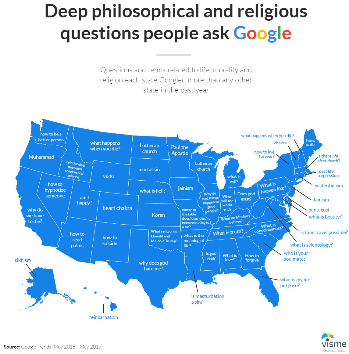 Deep Philosophical And Religious Questions Most Googled By Each US - Map of religions in the us