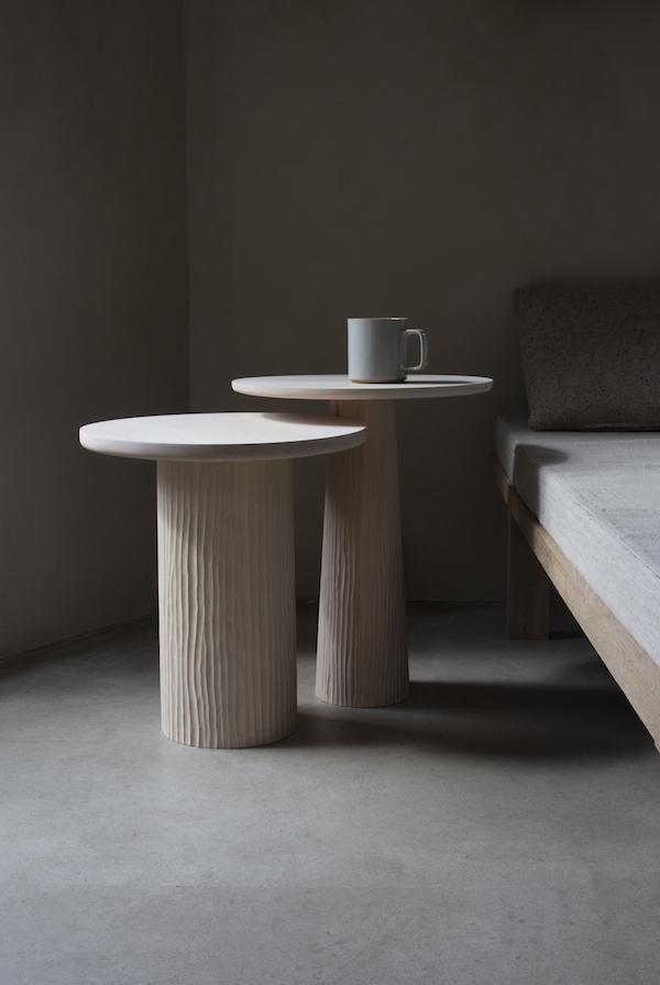 Pedestal tables by Vilde Hagelund