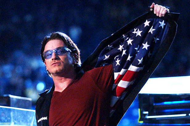 Bono wearing an American flag jacket