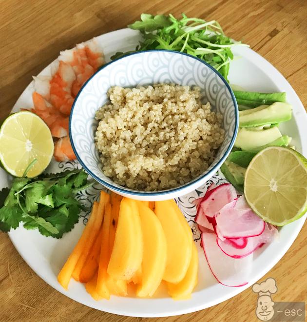 Rollitos vietnamitas de kaki, langostinos y quinoa