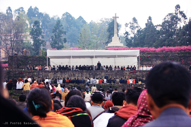 Crowd at Easter Sunday Sunrise Service at WWII Cemetery Kohima