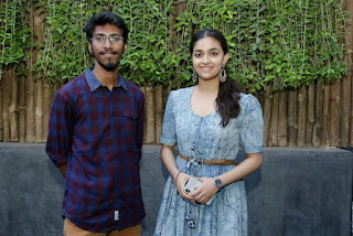 Keerthy Suresh in Blue Dress with Cute and Lovely Smile with a Fan 4