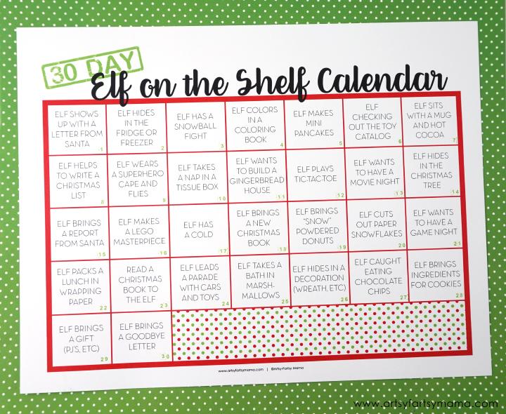 Elf on the Shelf Ideas with Free Printable Calendar artsyfartsy mama