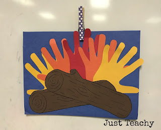 Handprint Campfire Craft, camping theme and activities
