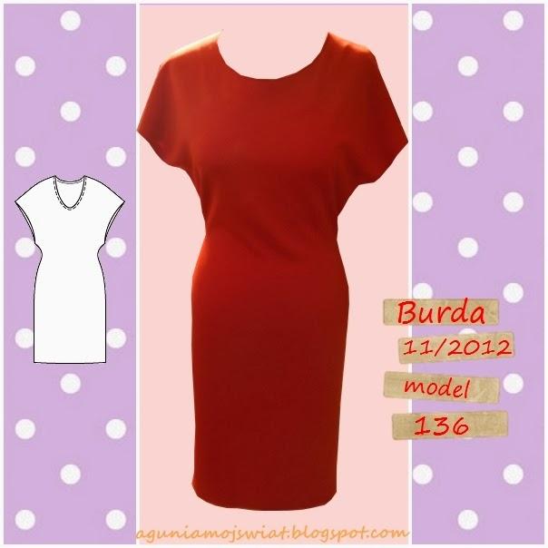 Czerwona sukienka z Burda 11/2012 model 136