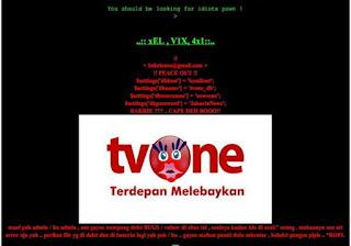 Peretasan yang terjadi pada halaman resmi TvOne.