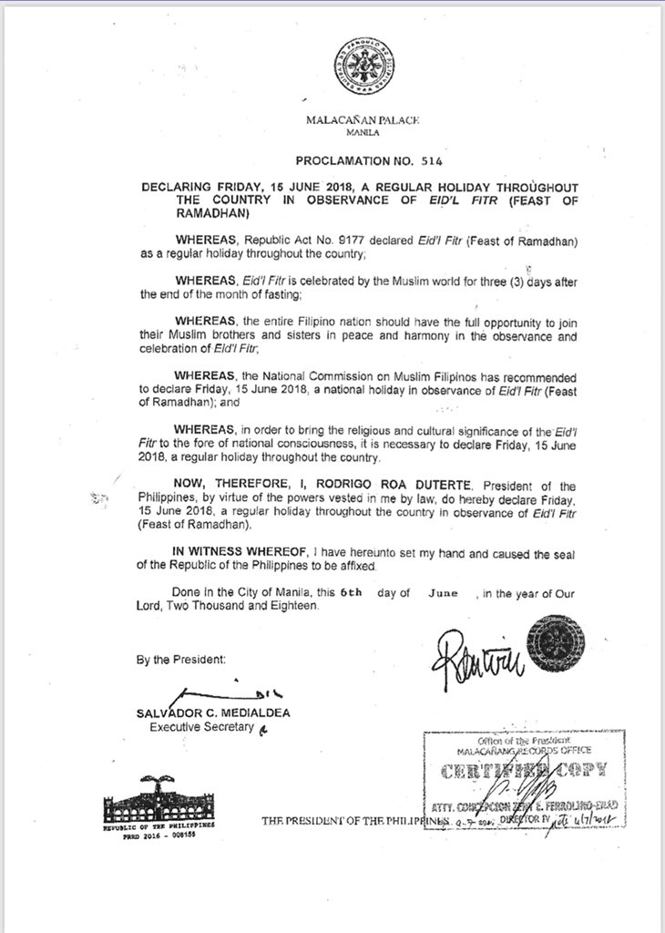 Duterte declares June 15, 2018 a regular holiday for Eid'l Fitr