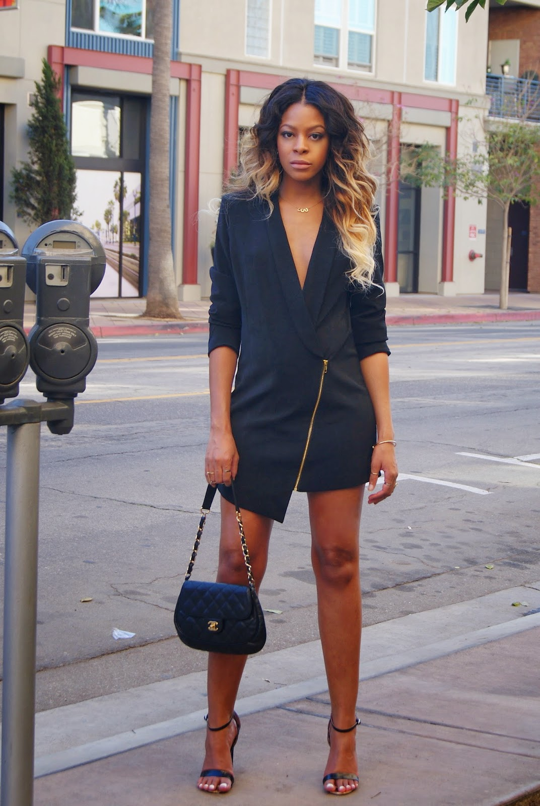 black blazer dress, allthingsslim, stripy sandals, chanel bag, ombre hair,