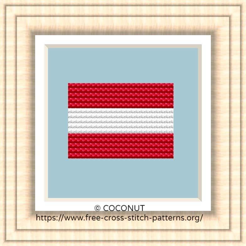 NATIONAL FLAG OF AUSTRIA CROSS STITCH CHART