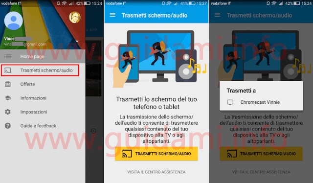 Android app Google Cast trasmettere video a Chromecast