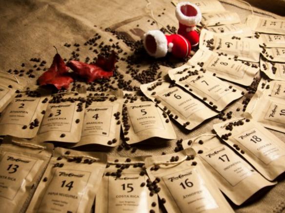 Adventskalender mit Kaffeebohnen