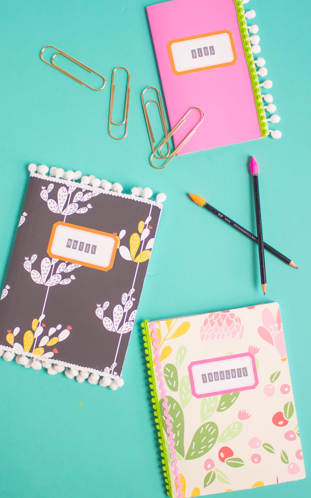 Use removable wallpaper scraps to cover your notebooks - such a fun back-to-school craft!