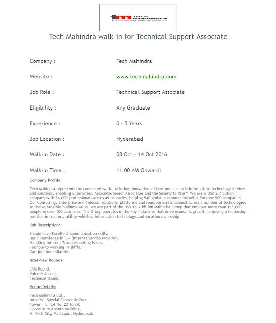TechMahindra walk-in
