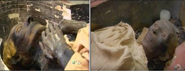 Las momias de Yuya (arriba) y su esposa Tuya (abajo). Ambos tienen el pelo rubio.